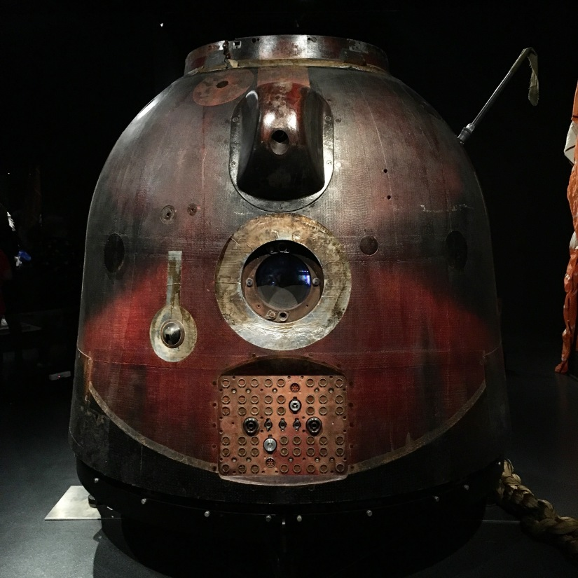 The Soyuz space capsule in whichTim Peake hurtled back to Earth from the ISS. Looking like a cubmarine crossed with a conker, this bell shaped capsule has a small circular window and scorch marks.